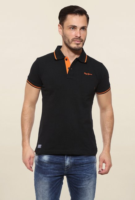 Pepe Jeans Black Solid T Shirt