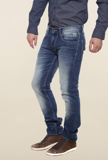 Pepe Jeans Navy Heavily Washed Solid Jeans