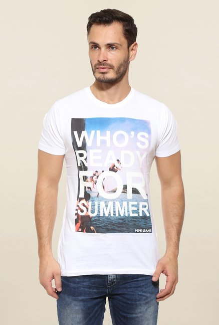 Pepe Jeans White Graphic Print T Shirt