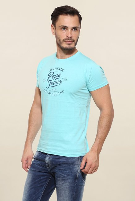 Pepe Jeans Turquoise Printed T Shirt