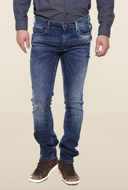 Pepe Jeans Blue Lightly Washed Solid Jeans