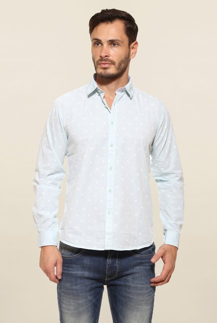 Pepe Jeans Light Blue Printed Casual Shirt