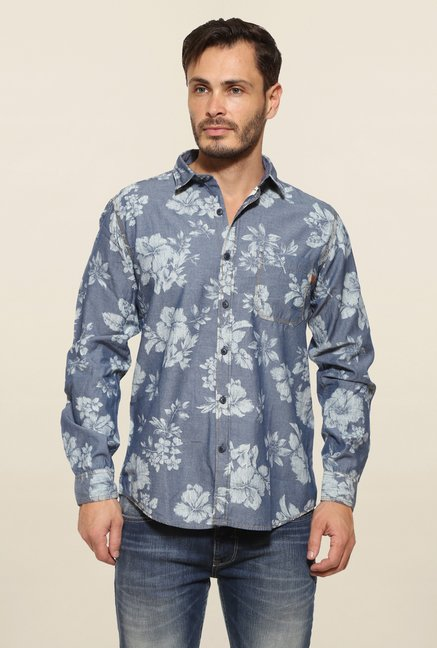 Pepe Jeans Blue Floral Print Casual Shirt