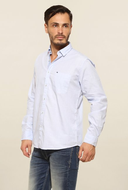Pepe Jeans Light Blue Solid Casual Shirt
