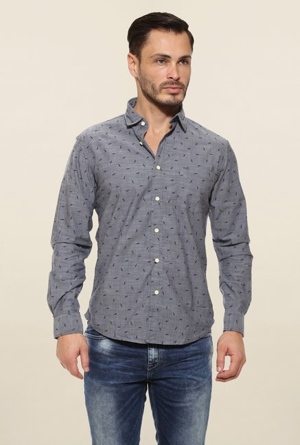 Pepe Jeans Grey Printed Casual Shirt