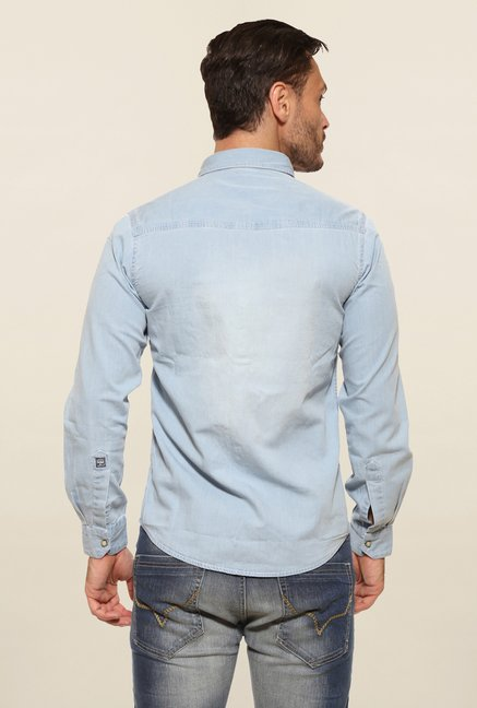 Pepe Jeans Blue Solid Casual Shirt