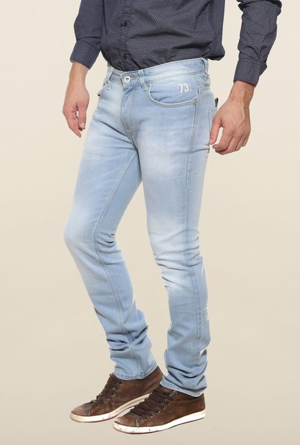 Pepe Jeans Blue Heavily Washed Solid Jeans