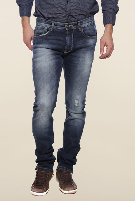 Pepe Jeans Navy Lightly Washed Distressed Jeans