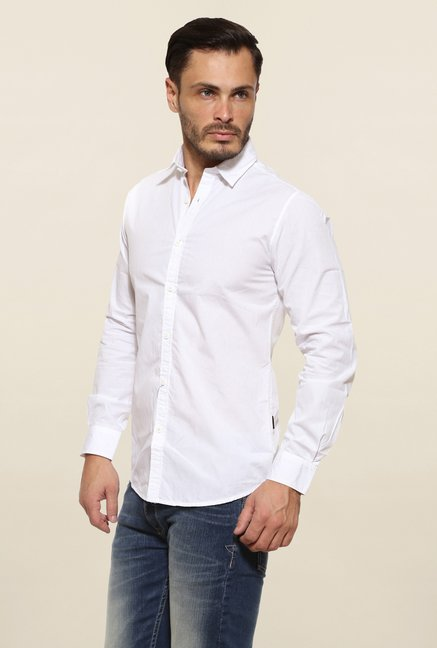 Pepe Jeans White Solid Casual Shirt