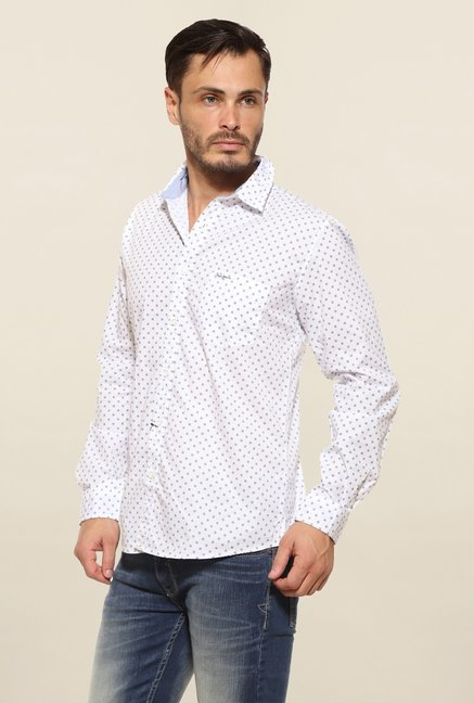 Pepe Jeans White Printed Casual Shirt