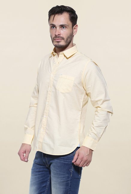 Pepe Jeans Yellow Solid Casual Shirt