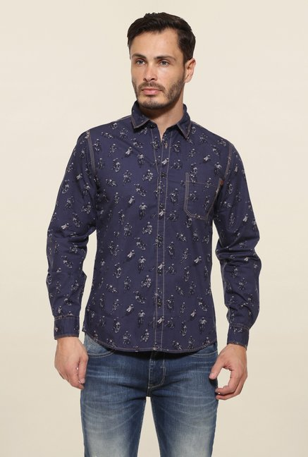 Pepe Jeans Navy Printed Casual Shirt