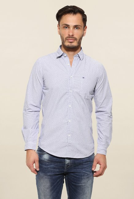 Pepe Jeans Blue Textured Casual Shirt