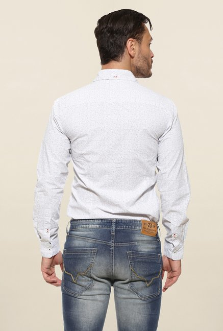 Pepe Jeans White Textured Casual Shirt