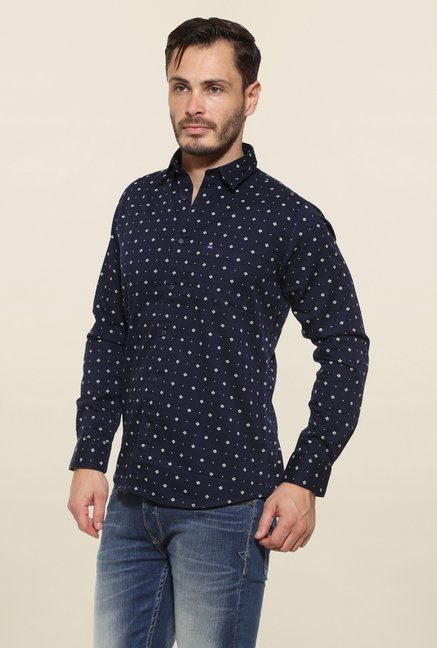 Pepe Jeans Navy Dotted Casual Shirt