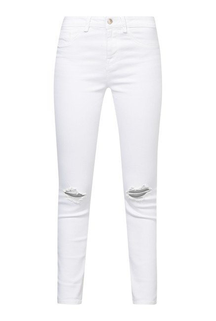 New Look White Ripped Skin Fit Jeans