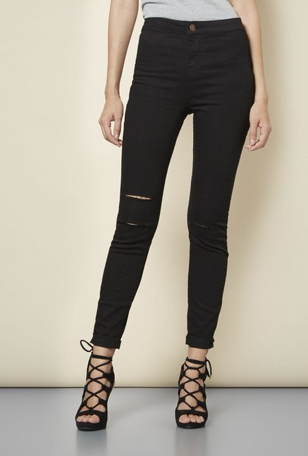New Look Black Ripped Super Skin Fit Jeans