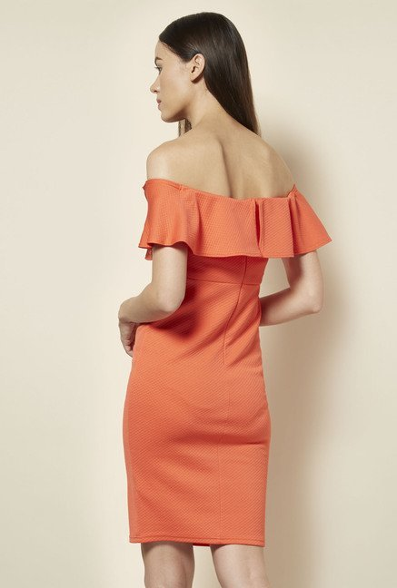 New Look Coral Frill Bodycon Dress
