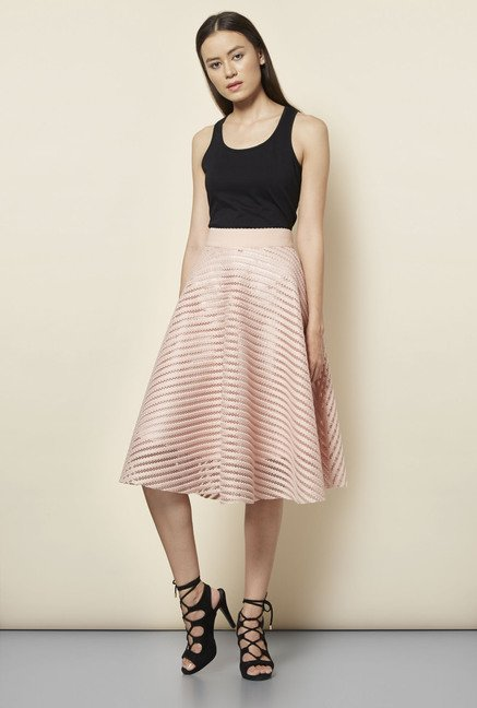 New Look Pink Mesh Striped Midi Skirt
