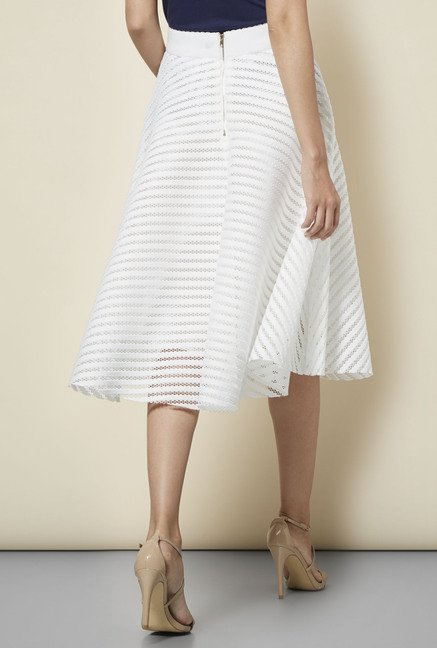 f21dd2473af5 Buy New Look White Mesh Striped Midi Skirt Online at best price at ...