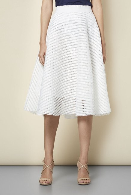 New Look White Mesh Striped Midi Skirt
