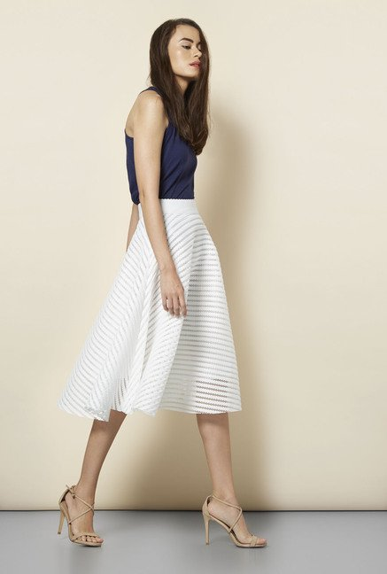 20f7cb897f2e Buy New Look White Mesh Striped Midi Skirt Online at best price at TataCLiQ