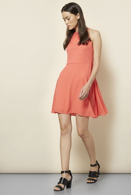 New Look Coral Solid Skater Dress