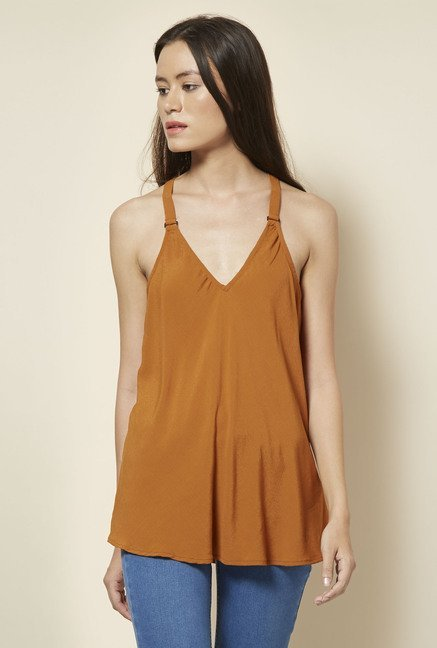 New Look Tan Buckle Strap Top