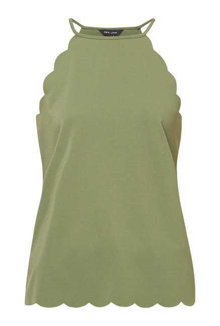New Look Green Scallop Trim Top