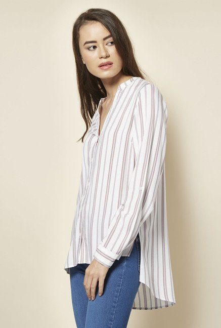 New Look White Striped Roll Sleeve Shirt