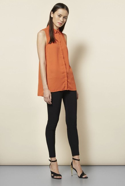 New Look Orange Split Side Sleeveless Shirt