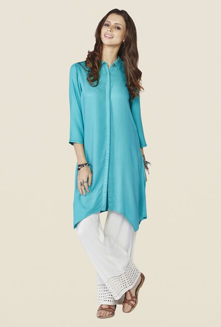 Global Desi Sea Blue Solid Mimosa Kurti