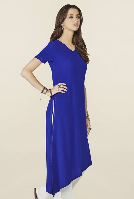 Global Desi Ink Blue Solid Cyan Kurti