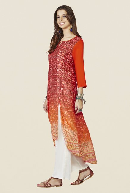 Global Desi Orange Printed Demelza Kurta