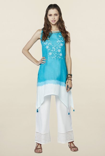Global Desi Blue Embroidered Sana Kurti