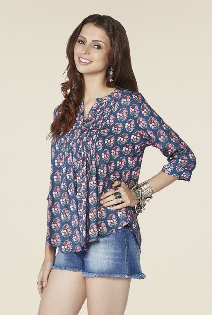 Global Desi Blue Printed Cari Top