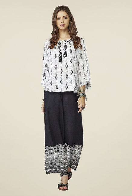 Global Desi White Embroidered Alice Top