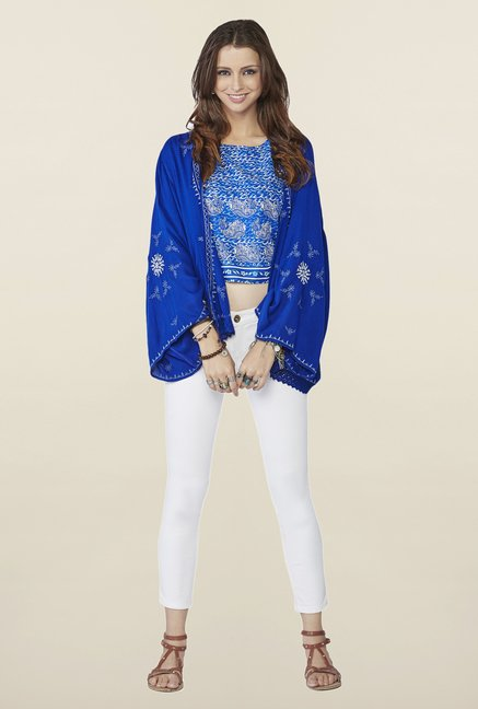 Global Desi Blue Embroidered Kyla Shrug