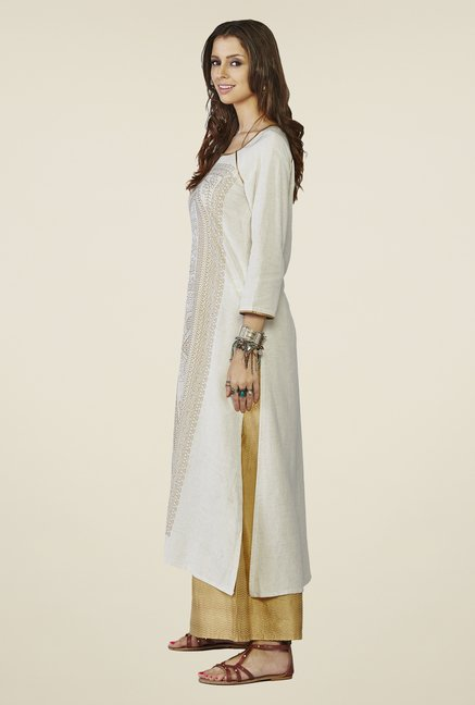 Global Desi Off White Printed Azura Kurta