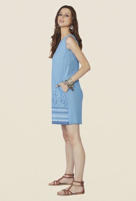 Global Desi Blue Printed Aspen Tunic