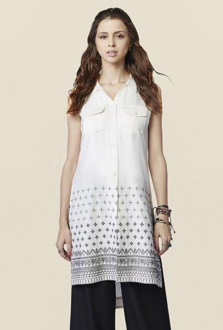 Global Desi White Printed Raiden Tunic