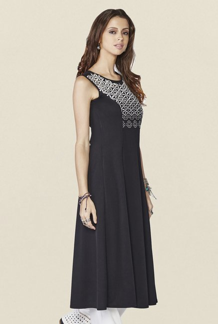 Global Desi Black Embroidered Acacia Kurti
