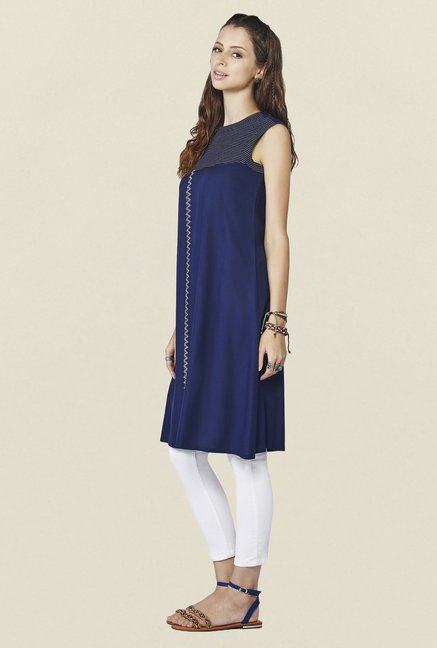 Global Desi Navy Solid Binx Tunic