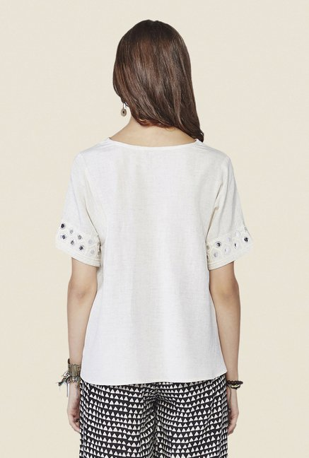 Global Desi Off White Texture Ara Top