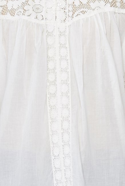 Global Desi White Lace Ara Top