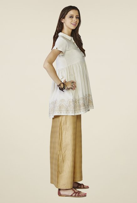 Global Desi Beige Printed Azura Top