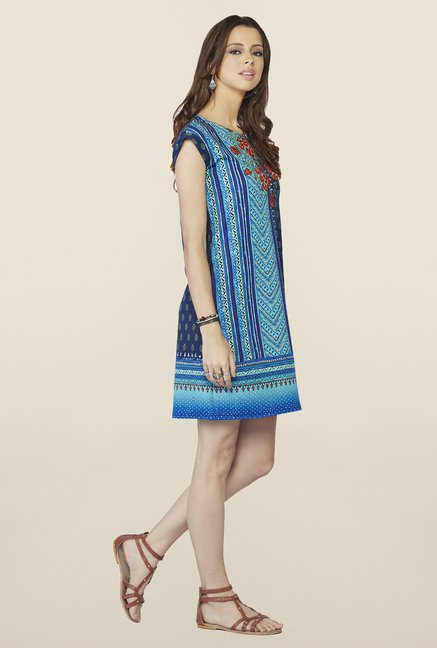 Global Desi Blue Printed Nolita Dress
