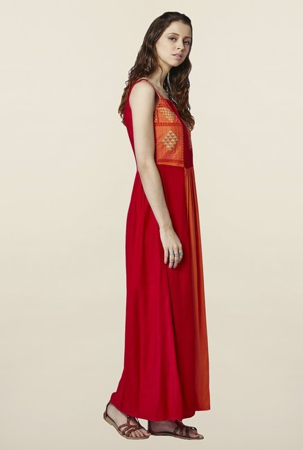 Global Desi Orange Embroidered Naolin Maxi Dress