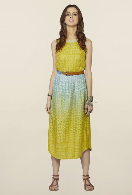 Global Desi Mustard & Blue Printed Ivy Midi Dress