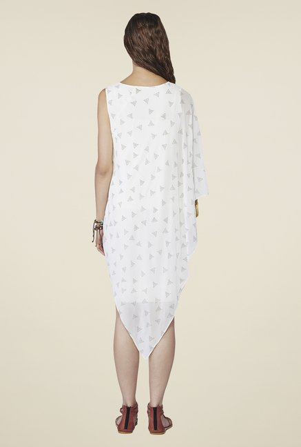 Global Desi White Printed Ciana Dress
